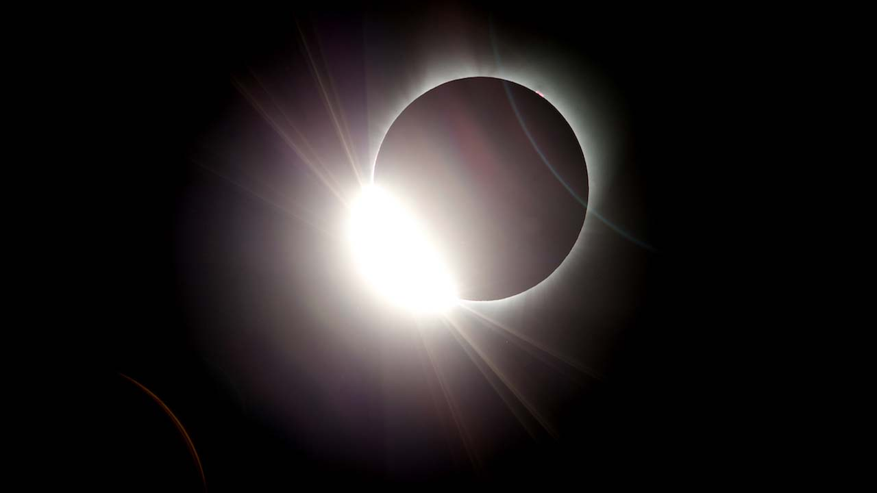 The moon almost totally eclipses the sun during a near total solar eclipse as seen from Salem, Ore., Monday, Aug. 21, 2017. (AP Photo/Don Ryan)